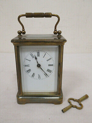 Antique Brass Carriage Clock with Key *Spares or Repair*