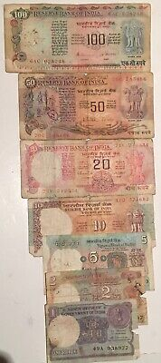 INDIA SET  1 2 5 10 20 50 100 RUPEE Circulated INDIA NOTES 100 % ORIGINAL NOTES