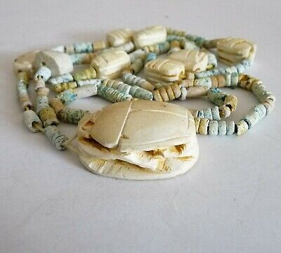 Antique Ancient Amulet Egypt Beetle Scarab Bead Necklace Bijou Ancien Collier