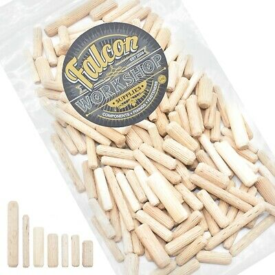 200g OF 'MIXED IN THE PACK' HARDWOOD DOWELS CHAMFERED FLUTED PIN WOODEN DOWEL