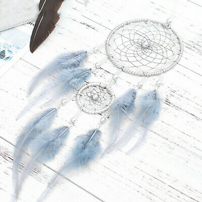 Handmade Dream Catcher Net Feather Decoration Decor Ornament Blue Craft USA