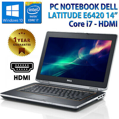 "PC NOTEBOOK PORTATILE 14"" RICONDIZIONATO DELL E6420 CORE i7 4GB HDD 320GB HDMI"