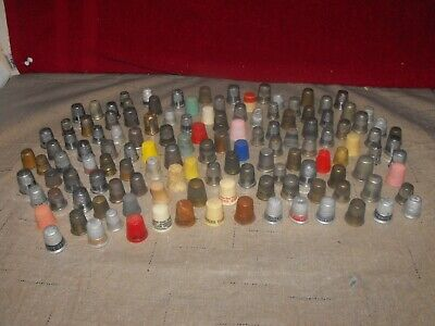 Lot of 124 Vintage Mixed Sewing Thimbles Plastic Metal Some w/Advertising