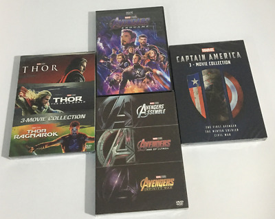 Marvel Movie Avenger 1-4 THOR 1-3 CAPTAIN AMERICA 3-MOVIE COLLECTION (DVD )