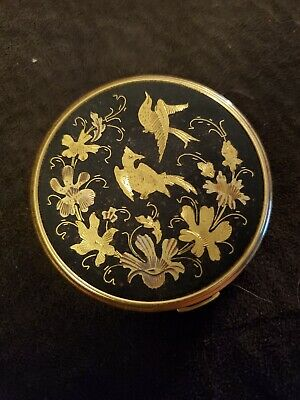 Vintage Gorgeous Birds and Flowers Compact Mirror Makeup - Gold tone and Black