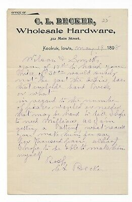 1898 Letter - C.l. Becker Wholesale Hardware - Keokuk, Iowa