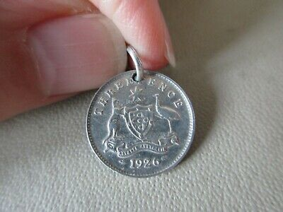 Vintage English Sterling Silver Australia 1926 Threepence Coin Fob Charm Pendant