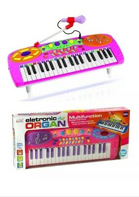Kids Electronic Toy Rockstar Keyboard Piano Tune Set With Microphone Pink Gift
