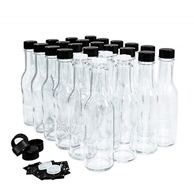 24 Pack Clear Glass Hot Sauce Bottle W/Black Cap + Shrink band and Reducer 5 oz