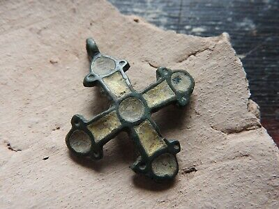 Beautiful cross with yellow Viking enamel Kievan Rus 10-13 AD