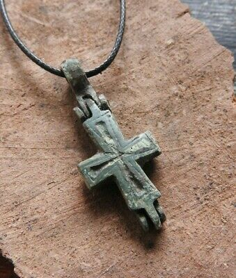 Authentic Byzantine Bronze reliquary (double cross - Enkolpion) pendant 10-13 AD