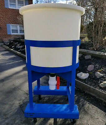 Mixing Tank and Lid - 100 Gallon (378 Liters) With Steel Rolling Stand, and PVC