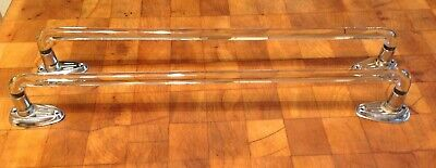 2 Vintage Art Deco Curved Thick Glass Towel Bar Rack Hangers
