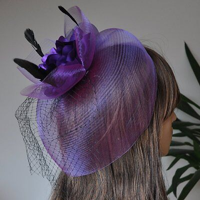 Fascinator Hair Clip with Net Feathers Satin Flower Wedding Accessory Purple Sb