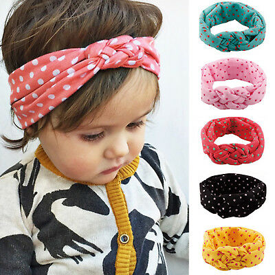 Baby Girls Polka Dot Turban Knot Twist Headband Hair band Head Wrap Kids Toddler