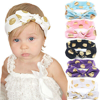 Baby Girls Polka Dots Bunny Rabbit Bow Knot Turban Headband Hair Band Headwrap
