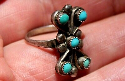 Old Pawn Navajo Sterling Silver & 5 Turquoise Stones Ring Handmade