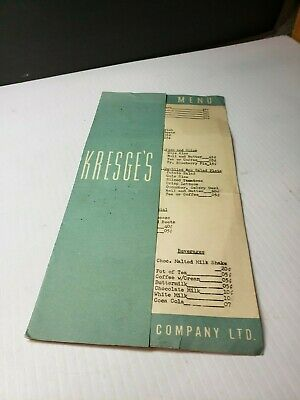 Vintage 1952 Kresge Department Store Restaurant Diner Menu