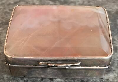 PINK & WHITE antique SCOTTISH MOSS AGATE & STERLING SILVER snuff or patch BOX