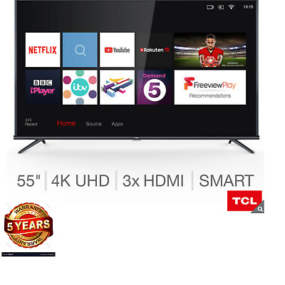 Smart TV+Freeview HD 55 Inch Ultra Slim Silver 4K HDR PRO TLC High Quality New