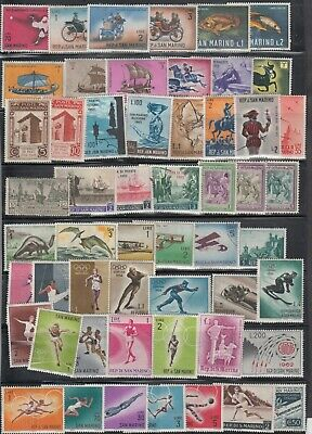 San Marino Mini Country Collection Of 54 Different Mostly Mint, Few Used.