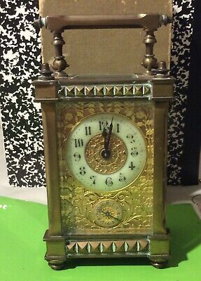 Late 19th Century Brass French Carriage Clock Wonderful Gold plated Face