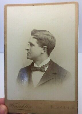 1880's Cabinet Card Photo of Man w/ Glasses by Franklin & Co, Palo Alto, CA  *A3