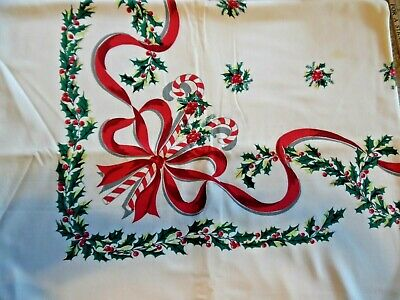 Vintage Tablecloth Christmas Print CANDY CANES, RIBBONS, HOLLY green red 94x60""