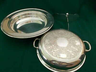 """KEYSTONEWARE Silverplated 3 pcs 11"""" casserole, etched cover, 3-arm divider"""