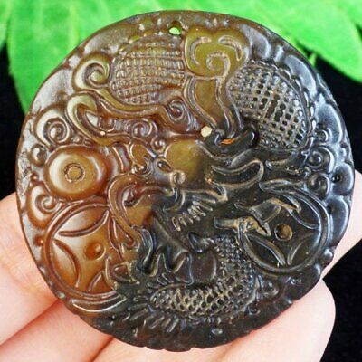 J07585 Carved Chinese Old jade Hand-made Dragon Pendant Bead 49x7mm