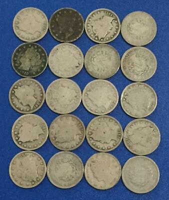 """1800s-1900s US LIBERTY /""""V/"""" NIckels Collection of 20 Assorted Coins!"""