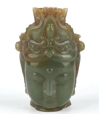 Antique Chinese Collection Hetian Jade Carved Guanyin head Statue