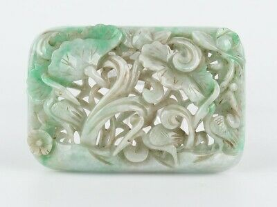Antique Chinese Collection Jadeite Carved Lotus and Crane Board Statue