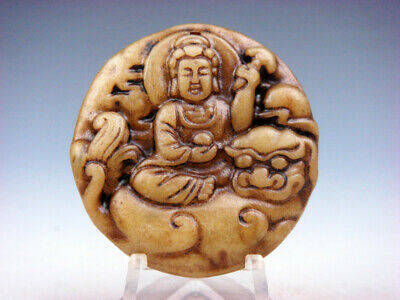Old Nephrite Jade Hand Carved *Buddha Riding FOO DOG LION* Pendant #07301902