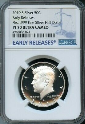 2019 S First .999 Fine Silver Kennedy 50C EARLY RELEASES NGC PF70 U.C BLUE LABEL
