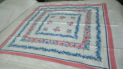 Vintage Cotton Tablecloth PINK, SHADES OF BLUE,GREEN FLORAL, Feather Border,Pink