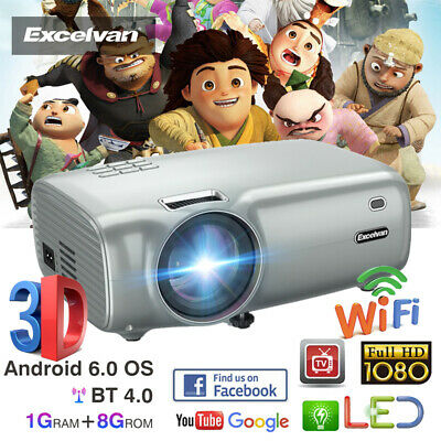 Mini WiFi Android 6.0 LED Video Projector 7000 Lumens 1080P 3D Home Theatre 8GB