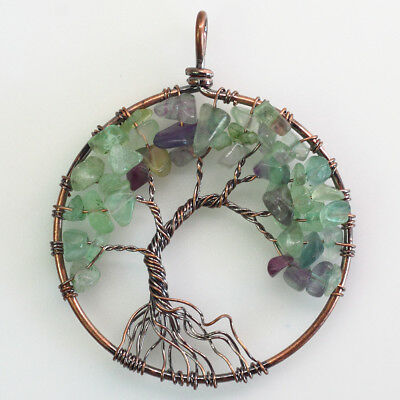 Natural Fluorite Chips Beads Tree of Life Reiki Chakra Copper Round Pendant