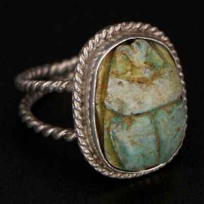 VTG Sterling Silver - Egyptian Turquoise Scarab Beetle Ring Size 9 - 7.5g