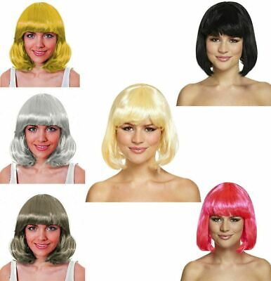 Ladies Black Mid Bob Wig 120g Womens Straight Hairs Fancy Dress Party Accessory