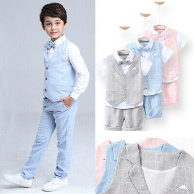 Baby Kid Boys Suits 4Pcs Formal Toddler Waistcoat Suit Wedding Party Outfits UK