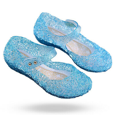 2019 Kids Girls Crystal Jelly Sandals Princess Frozen Elsa Cosplay Party Shoes