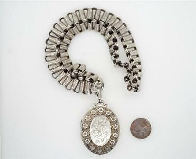 Antique Victorian English Sterling Silver Bookchain Collar Necklace & Locket