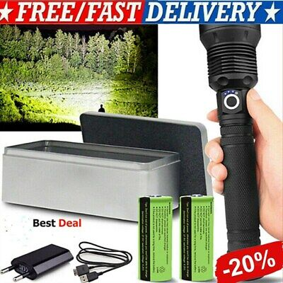 120000 Lumens XHP70.2 Most Powerful Led Flashlight USB Zoom Torch+USB Cable