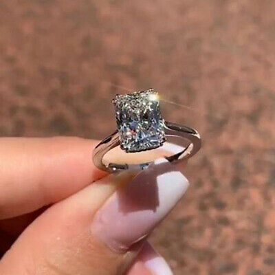 Real 10k White Gold 2.50 Ct Diamond Emerald Cut Engagement Solitaire Ring
