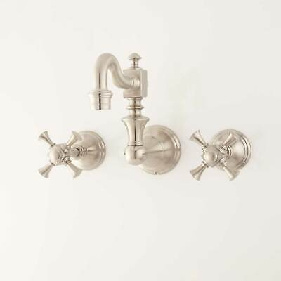 Vintage Wall Mount Kitchen Faucet with Cross Handles in Satin Nickel