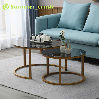 1 Set Modern Coffee Table Marble Pattern Living Room Creative Round Combination