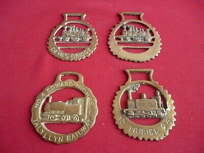 Set of Four Vintage Horse Brass Devil's Bridge/Thomas/Muriel Steam Railways
