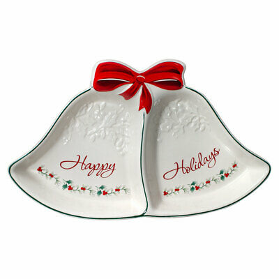 Pfaltzgraff Christmas Winterberry Ribbons 2 Section Serving Tray