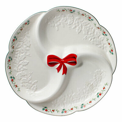 Pfaltzgraff Christmas Winterberry Ribbons 3 Section Serving Tray